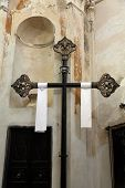 MONTEROSSO, ITALY - MAY 02: Cross, Oratory of the Dead in the Old Town at Monterosso al Mare one of