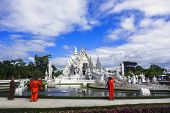 White Temple After Earthquake and Buddhist Monks.