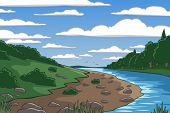 Editable vector illustration of a river valley landscape