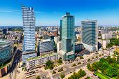 Business district in Warsaw, Poland