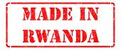 Made in Rwanda on Red Rubber Stamp.