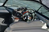 DOLGOPRUDNY, MOSCOW REGION, RUSSIA - JULY 4, 2014: Steering wheel of a motor boat exposed on the 5th