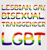 "pic of bisexual  - ""Lesbian gay bisexual transgender lgbt"" phrase stylized with rainbow - JPG"