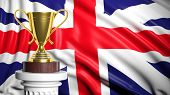 Golden trophy with British flag in background