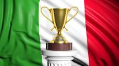 Golden trophy with Italian flag in background