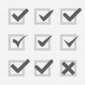 Set of check mark Ok confirm accept voice symbol icon web design elements and mobile applications ve