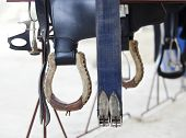 foto of saddle-horse  - Riding Saddle for riding horse in farm - JPG