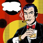 Vintage Pop Art Man with glass  smoking  cigar and with speech bubble.
