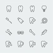 Dental Care Related Vector Icons Set, Thin Line