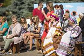 TIKHVIN, RUSSIA - JULY 5, 2014: Unidentified participants the celebration of the day of the city of