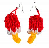 foto of loom  - Colorful Rainbow loom earring rubber bands fashion - JPG