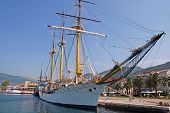 Sail Ship At The Pier In Tivat, Montenegro.