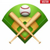 pic of baseball bat  - Vector illustration of baseball leather ball and wooden bats on field - JPG