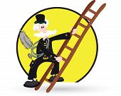 stock photo of sweeper  - Vector illustration of the chimney sweeper with ladder - JPG