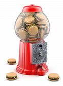 Gumball machine with hamburger