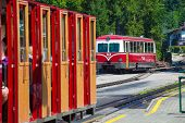 Diesel Locomotive Of A Vintage Cogwheel Railway Going To Schafberg Peak