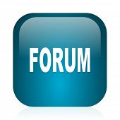 forum blue glossy internet icon