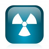 radiation blue glossy internet icon