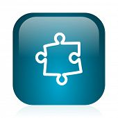 puzzle blue glossy internet icon