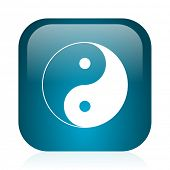 ying yang blue glossy internet icon