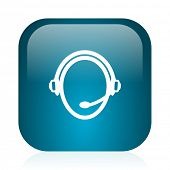 customer service blue glossy internet icon