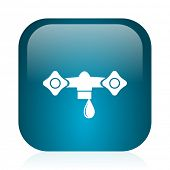 water blue glossy internet icon