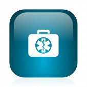 rescue kit blue glossy internet icon