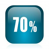 70 percent blue glossy internet icon