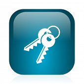 keys blue glossy internet icon