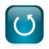 rotate blue glossy internet icon