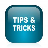 tips tricks blue glossy internet icon