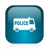 police blue glossy internet icon