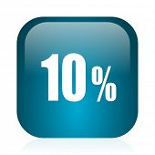 10 percent blue glossy internet icon