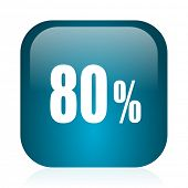 80 percent blue glossy internet icon