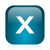 cancel blue glossy internet icon