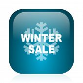 winter sale blue glossy internet icon