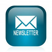 newsletter blue glossy internet icon