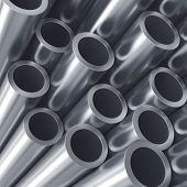 Stack of metal tubes. Industry quality background.