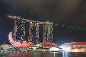 Marina Bay Sands and ArtScience Museum light show Singapore