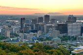 Montreal sunrise viewed from Mont Royal with city skyline in the morning
