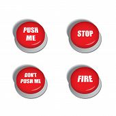 Red buttons with various commands - isolated illustrations