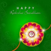 Beautiful floral design decorated rakhi on seamless floral decorated green background for Happy Raks