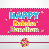 Beautiful greeting card design with colorful rakhi on pink and grey background.