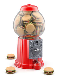pic of gumball machine  - Gumball machine with hamburgers inside  - JPG