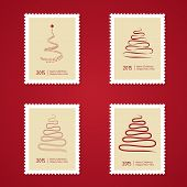 Set of Christmas Postage stamps with tree.