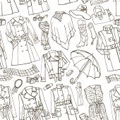 Outline Sketchy.Females outerwear,accessories seamless pattern