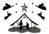 picture of christmas angel  - Silhouette Christmas Manger Scene with Angels black on white - JPG