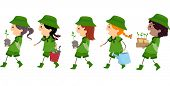 Illustration of Girl Scouts Carrying Materials Used or Planting Trees