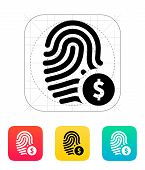 picture of fingerprint  - Fingerprint with USD currency symbol and money label icon - JPG