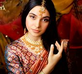 picture of indian culture  - beauty sweet real indian girl in sari smiling - JPG